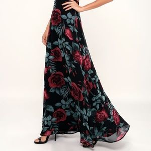Lulu's Dresses - Lulu's Adventure Seeker Black Rose Print Dress